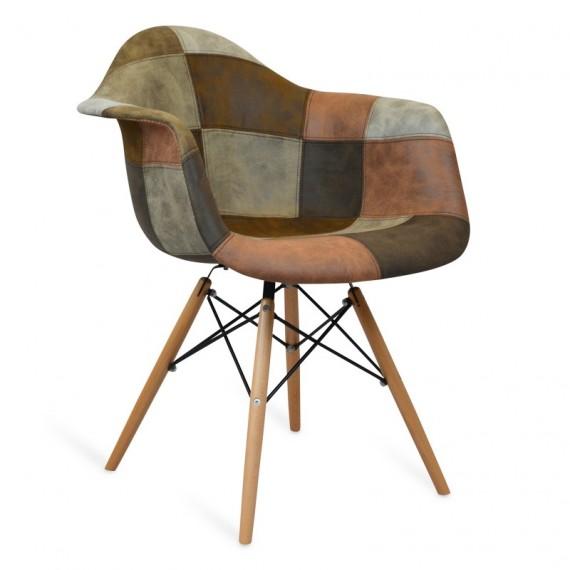 Sedia patchwork xl marrone sedie da disegno furnmod for Sedia design marrone