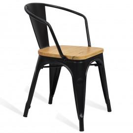 Sedia in Metallo Bistro Arms Wood
