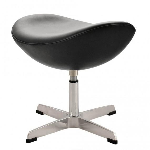 Replica ottomana della Egg Chair in pelle del designer Arne Jacobsen