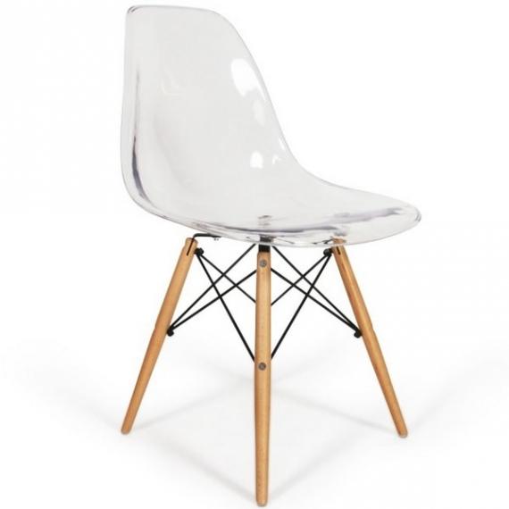 Sedia Eames Wood Trasparente