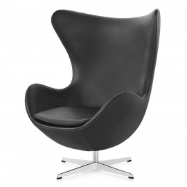 Sedia Replica Egg Chair realizzata in pelle dal designer Arne Jacobsen