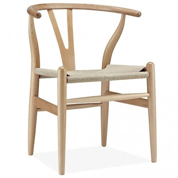 Replica della sedia scandinava di alta gamma Wishbone CH24 in legno di faggio