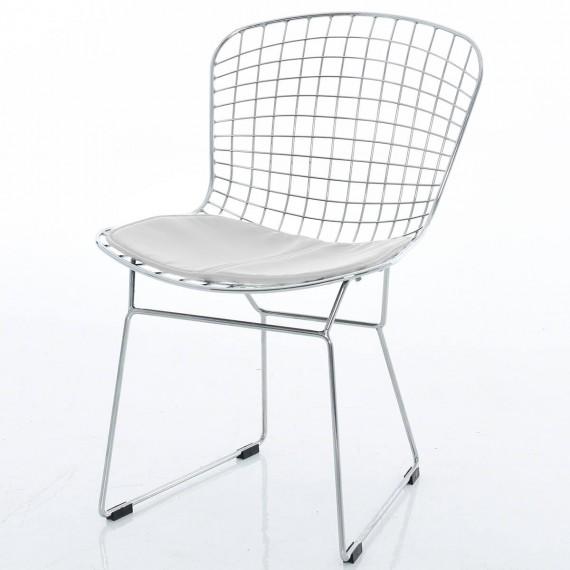 Replica di sedia Bertoia cromata di Harry Bertoia