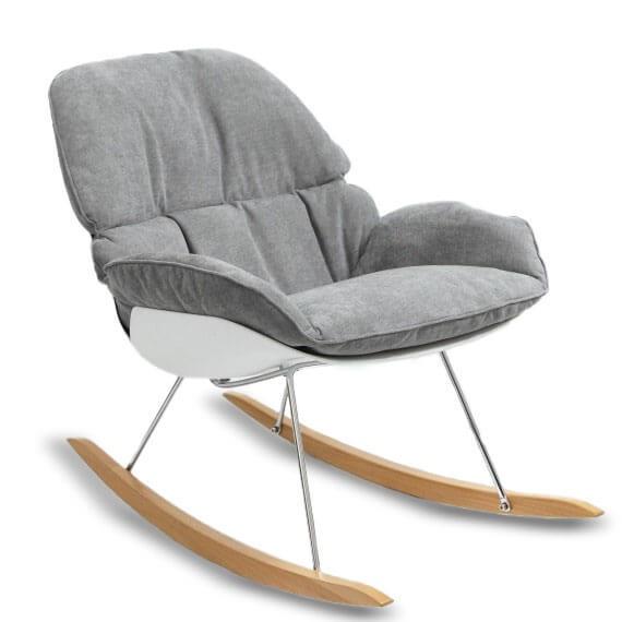 Replica della sedia a dondolo Bay con cuscino grigio