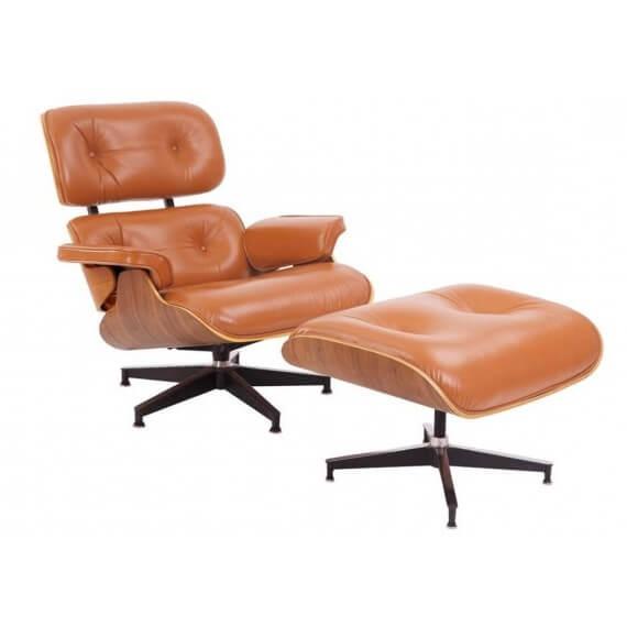 Réplica Eames Lounge Chair en Piel marrón Cognac de Charles & Ray Eames