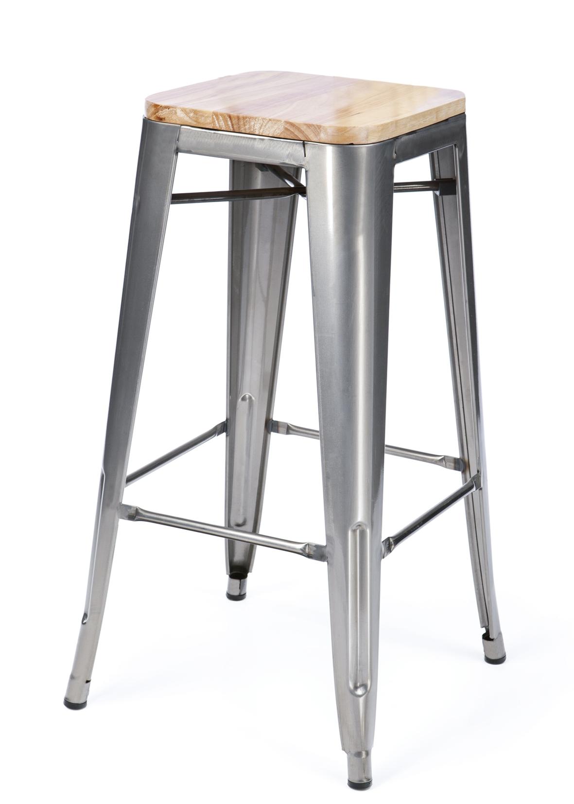 Sgabelli Tolix Prezzi.Sgabello Industriale Bistro Wood 76 Cm Sedia Vintage