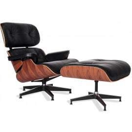 Poltrona Replica Eames Lounge Chair versione premium in pelle anilina e legno di palissandro di Charles & Ray Eames