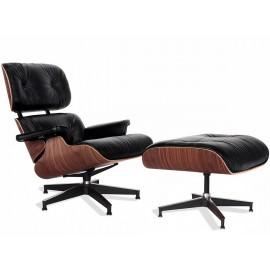 Replica Eames Lounge Chair versione premium in pelle anilina e legno di noce