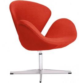 Replica della Swan Chair in cashmere di Arne Jacobsen