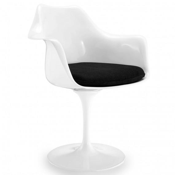 Replica della sedia Tulip con braccioli e cuscino