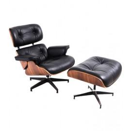 Poltrona James Lounge Chair in similpelle e legno di noce