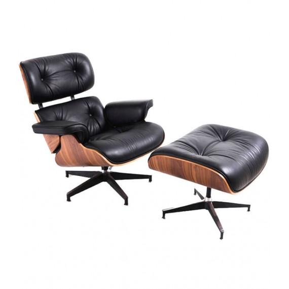 Replica poltrona James Lounge Chair in similpelle e legno di noce