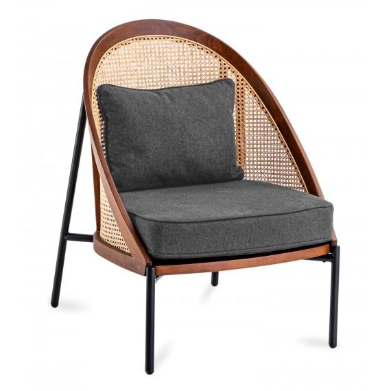 Sedia Robin in rattan naturale e cuscino in cotone in stile nordico