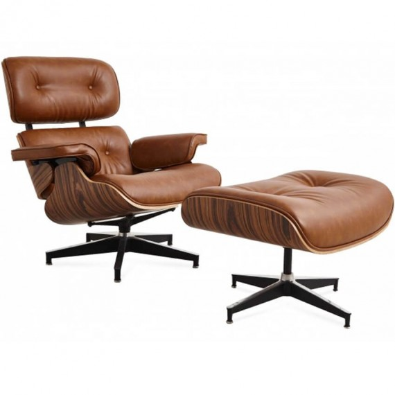 Replica Eames Lounge Chair EA219 in distressed leatherette