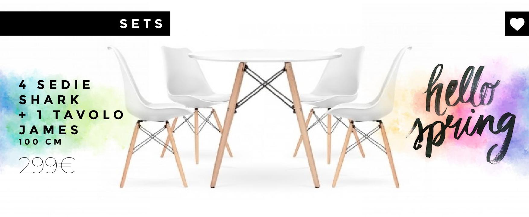 Combinazione di 4 sedie Shark ispirate alla famosa sedia DSW